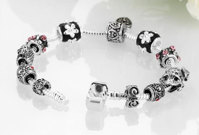 cypris, pulsera, tipo, pandora, charms, prensador, día, amor, amistad, regalo,