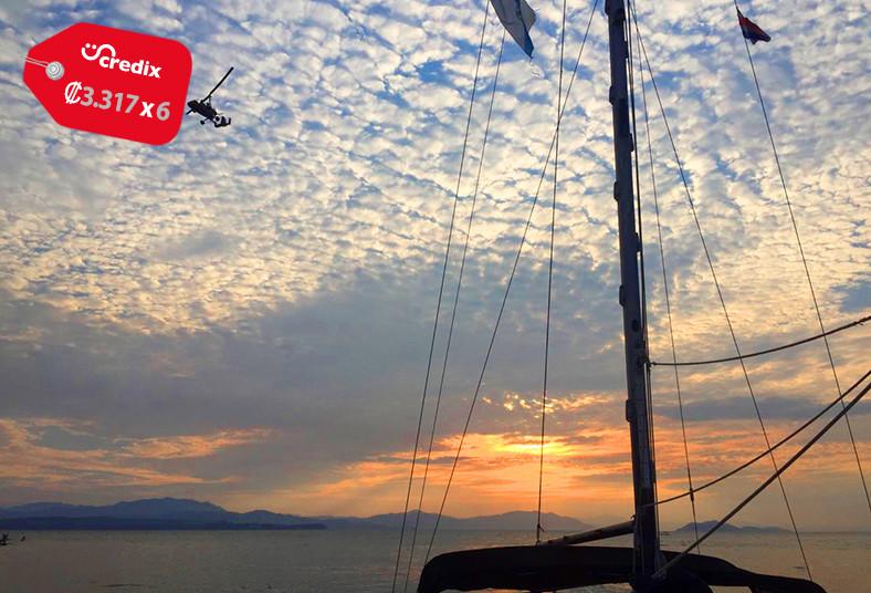 catamarán, alba, recorrido, bahía, puntarenas, estero, línea, costera, tarde,