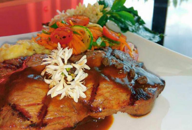 Restaurante, Bello, Horizonte, lomo, cafetal, res, salsa, entrada, guarniciones,