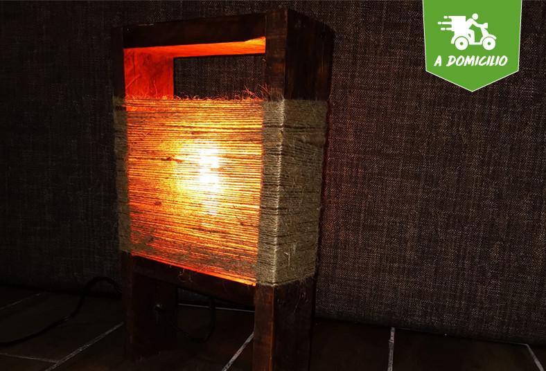 vintage, bogama, lámpara, yute, madera, añejada, envío, regalo, artesanal, luz