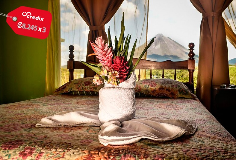 hotel, castillo, arenal, fortuna, san, carlos, vacaciones, volcán, vistas, noche