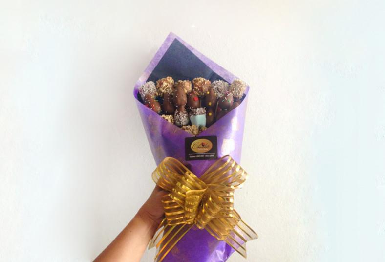 Chocolate, Delicious, ramo, fresas, cobertura, chocolate, marshmallows, maní,
