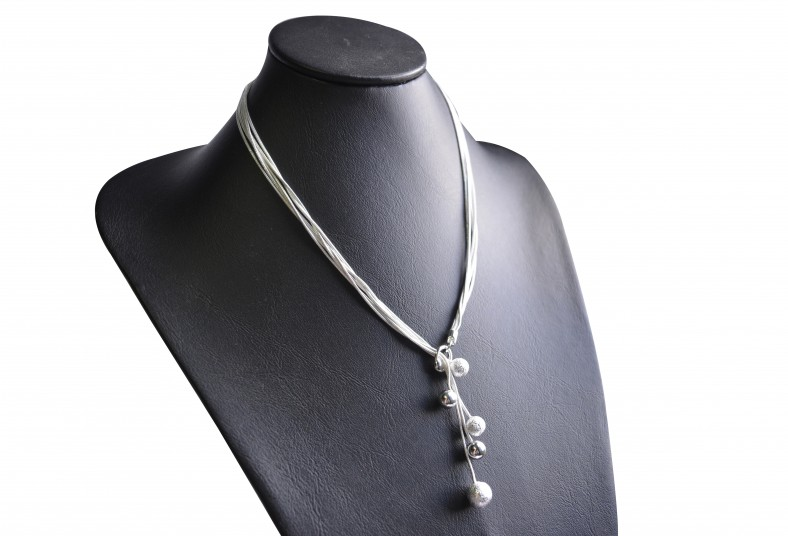 Jewvirly, Collection, collar, hoja, bolitas, plata, 925, antialérgico, garantía,