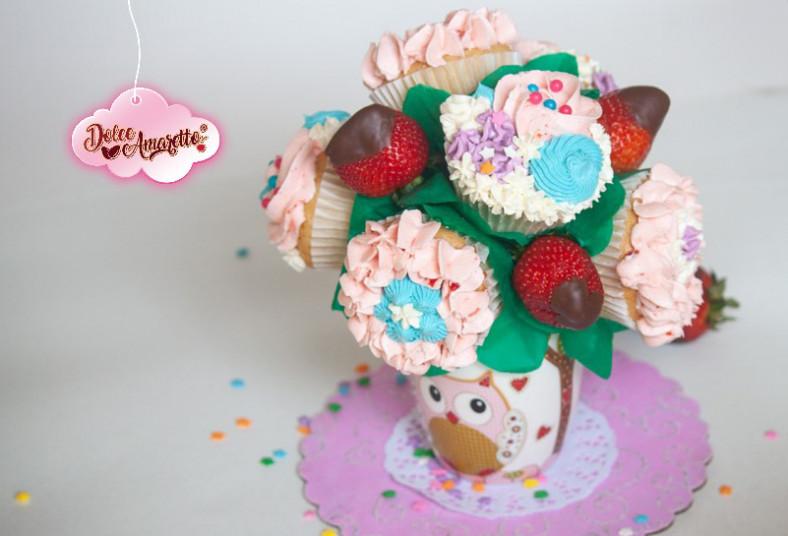 dolce, amaretto, ramo, cupcakes, fresas, cubiertas, chocolate, regalo, mamá, día
