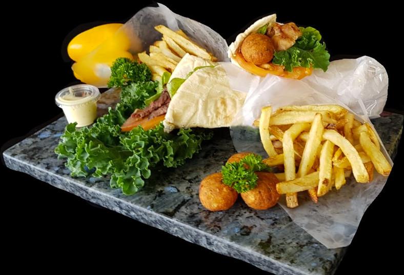 don, doner, gyros, pollo, papas, griegas, refresco, natural, almuerzo, pita, té