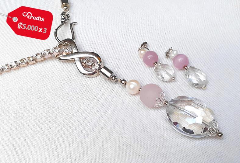 joyería, emilia, rodríguez, collar, perlas, cultivadas, aretes, cuarzo, rosado,