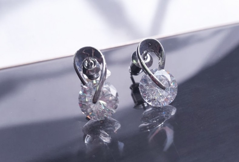 Jewvirly, Collection, aretes, plata, baño, rodio, piedra, zirconia, cristal,