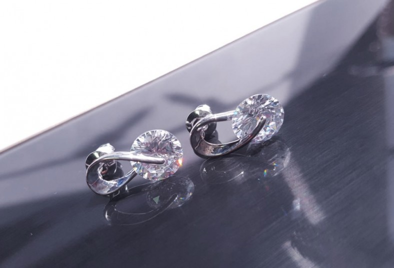 Jewvirly, Collection, aretes, plata, baño, rodio, piedra, zirconia, cristal,