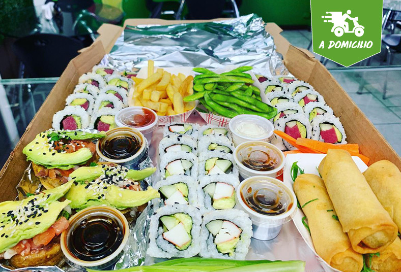 k, sushi, california, tico, chicken, vegetal, papas, fritas, patacones, edamames