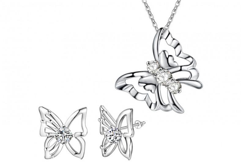cypris, cadena, mariposa, dije, aretes, plata, 925, día, especial, mamá, regalo