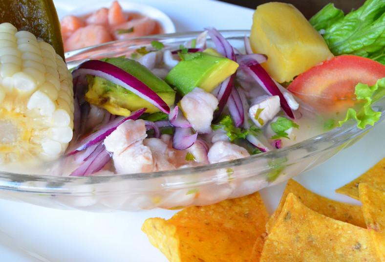 mariscos, más, ceviches, grandes, pescado, latino, camote, refrescos, tortillita