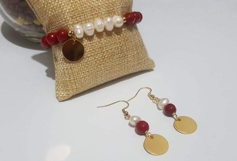 miel, bisutería, pulsera, aretes, piedra, ágata, perla, cultivada, acero, regalo