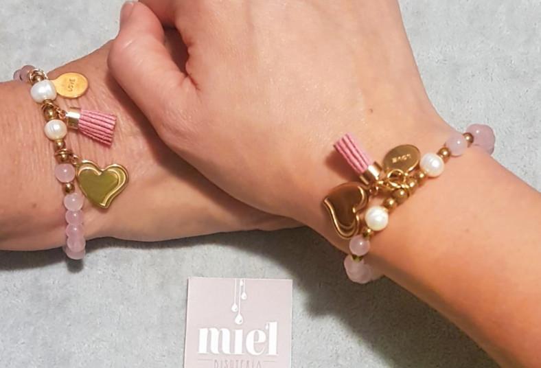 miel, bisutería, pulseras, unión, cuarzo, rosa, perlas, cultivadas, hematites,