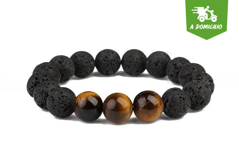 Mundoarte, pulsera, unisex, piedra, volcánica, ojo, tigre, esencia, aroma, mango