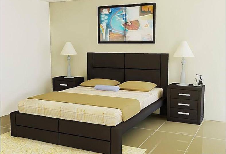 Descans como rey con una cama queen mesas de noche y for Cama matrimonial precio