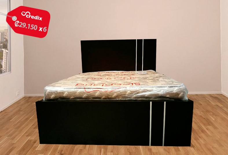 muebles, nova, cama, matrimonial, colchón, ortopédico, acabado, chocolate, pino,