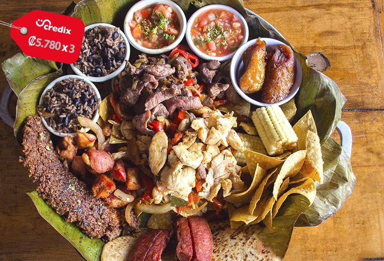 restaurante, nuestra, tierra, parrillada, compartir, fajitas, carne, chicharrone