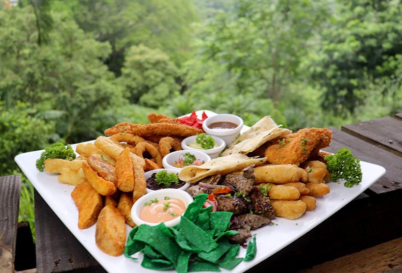 restaurante, palo, santo, piqueo, bocas, grande, compartir, pet, friendly, pollo