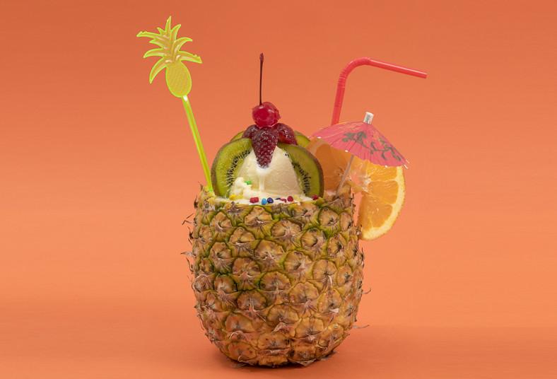 primavera, nutrición, frutas, piña, coco, topping, barquillos, kiwi, helado,