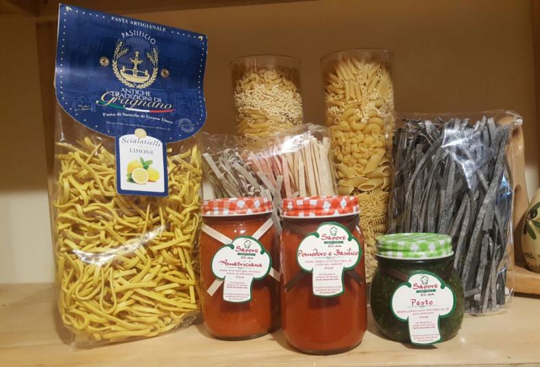 sapore, bottega, gusto, productos, pastas, artesanales, salsas, fettuccine, ragú