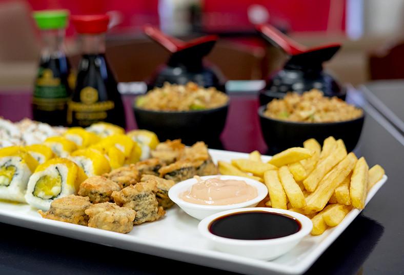 Restaurante, Japones, Sapporo, sushi, papas, frita, arroz, sopa, miso, vegetales