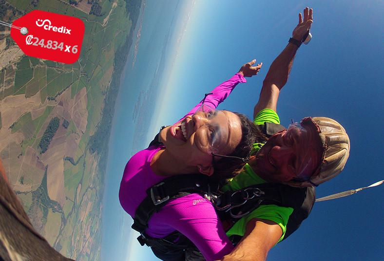 Skydive, pura, vida, paracaídas, tandem, vuelo, caída, salto, altura, instructor