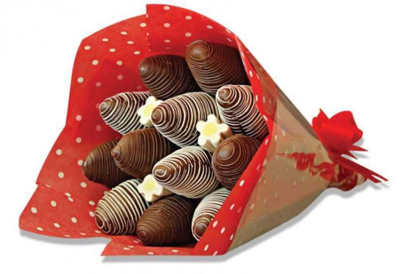 chocolat, sucré, bouquet, fresas, cubiertas, chocolate, rosas, naturales, día