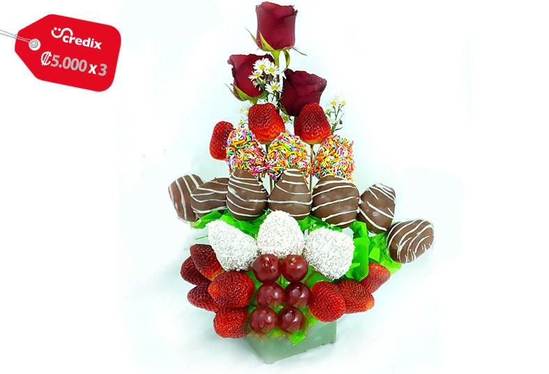 chocolat, sucré, arreglo, frutal, chocolate, globo, fresas, día, enamorados,