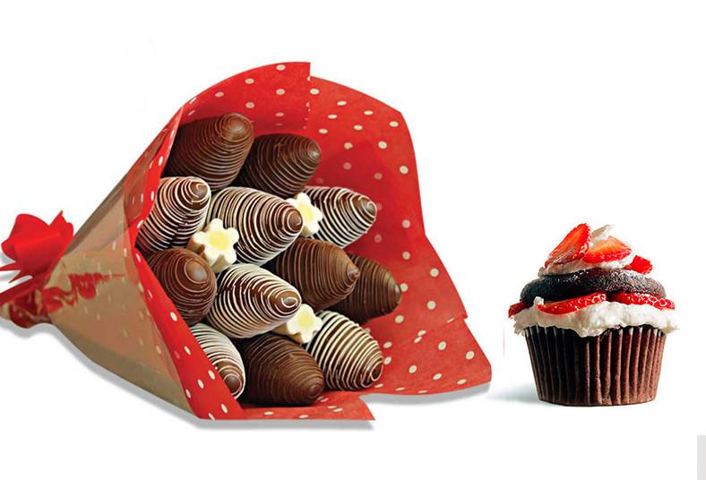 sweetland, ramo, fresas, decoradas, fino, papel, regalo, especial, día, celebrar