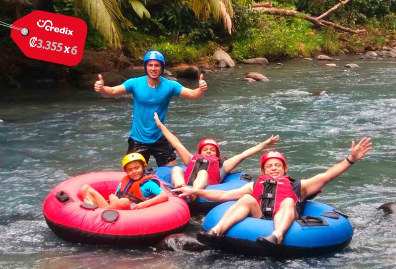 río, celeste, know, tour, tubing, frutas, bebidas, guía, equipo, transporte