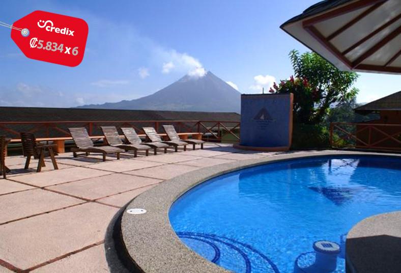 arenal, vista, lodge, fortuna, restaurante, volcán, arenal, paseo, senderos