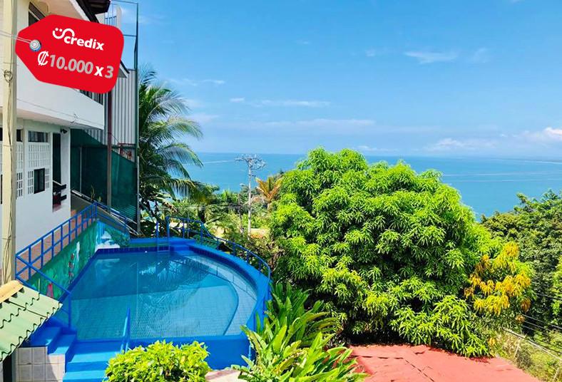 hotel, vista, real, manuel, antonio, playa, pareja, vista, jardín, terraza, sol