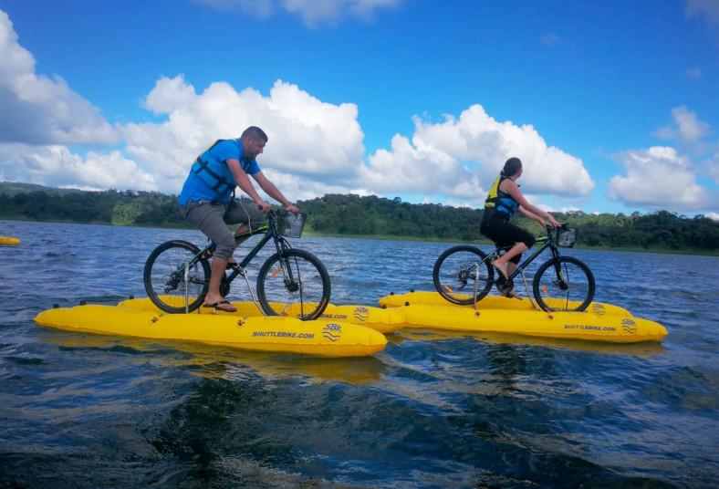 Water, Bikes, Tours, bicicleta, lago, arenal, botella, agua, familia, aves